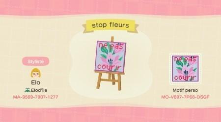 Panneau ne pas courir sur les fleurs