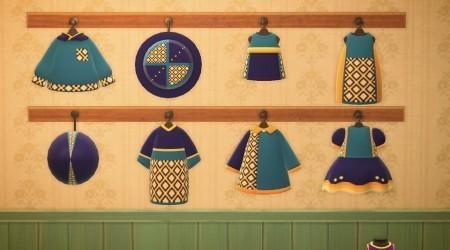 Collection habits bleu, violet, jaune
