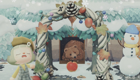 Ours en forêt hiver