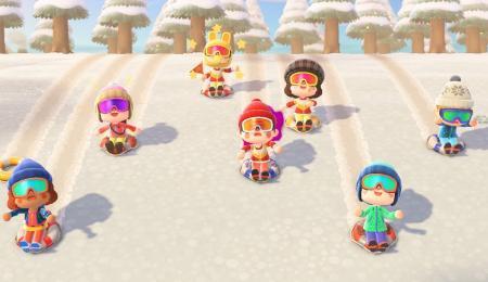 Trace / piste de luge dans la neige