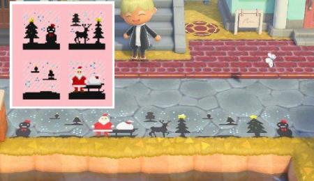 Motif Noël cerf, père Noël, sapins