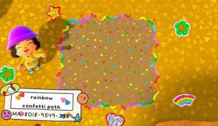 Chemin arc-en-ciel et confettis