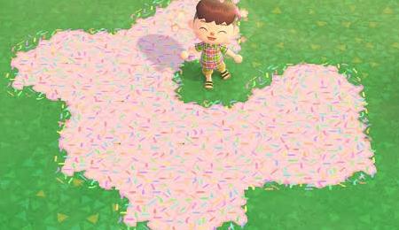 Chemin rose confettis