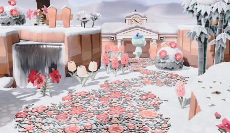 Chemin hivernal fleurs roses et grises