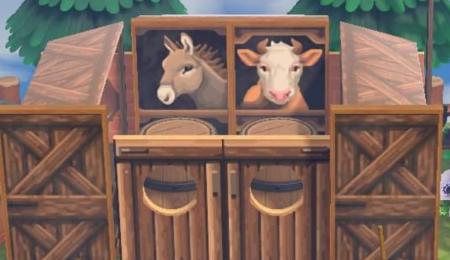 Ferme âne, vache, bouteilles de lait